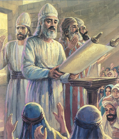 El rey Ciro permite a los judíos regresar a Jerusalén para reconstruir el templo. Los del pueblo se regocijan cuando Esdras les lee las Escrituras