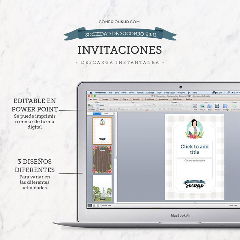 Invitaciones multiuso de la Sociedad de Socorro 2021 | Editables & Imprimibles