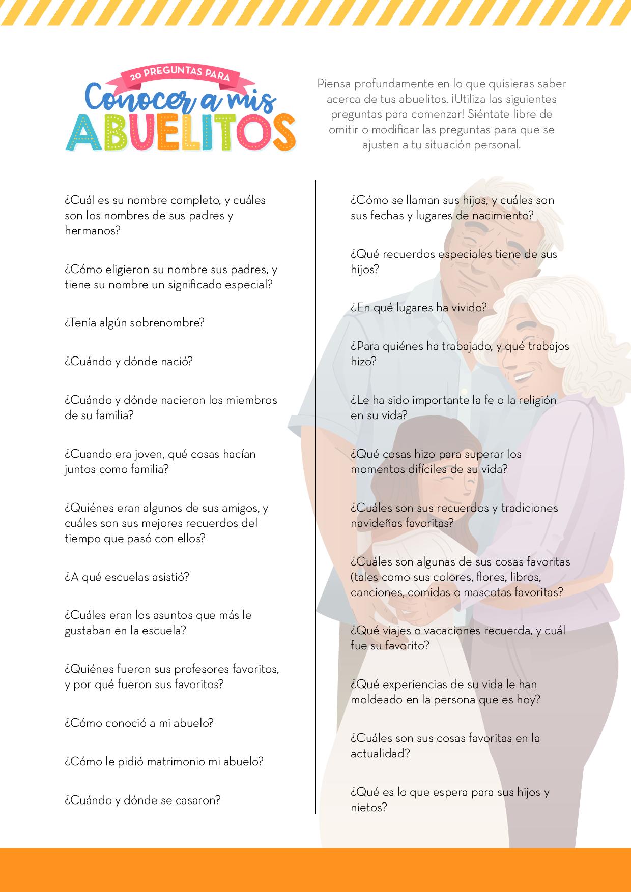 Conociendo a mis abuelitos - Esta tierna actividad de Historia Familiar ayudará a los niños a conocer más a sus abuelitos y a registrar y disfrutar de sus historias.